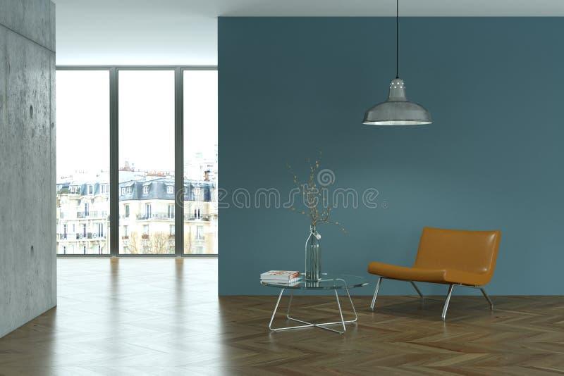 Jaskrawy pokój z brown krzesłem przed błękitną ścianą ilustracji