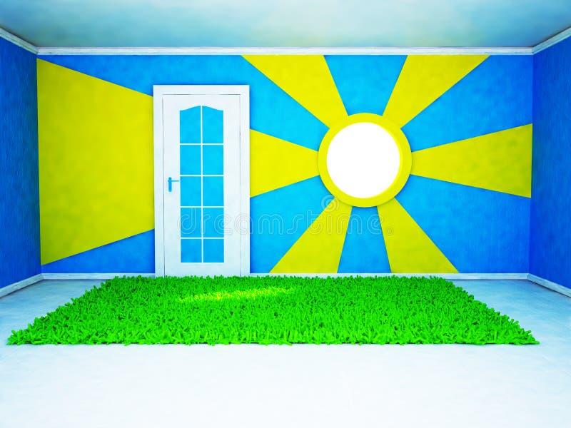 Jaskrawy pokój z ciekawym okno ilustracji