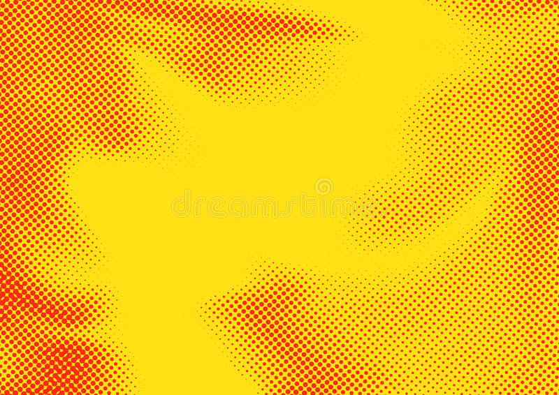 Jaskrawy pomarańczowy czerwonego koloru wystrzału sztuki halftone kropkujący abstrakcjonistyczny wzór royalty ilustracja