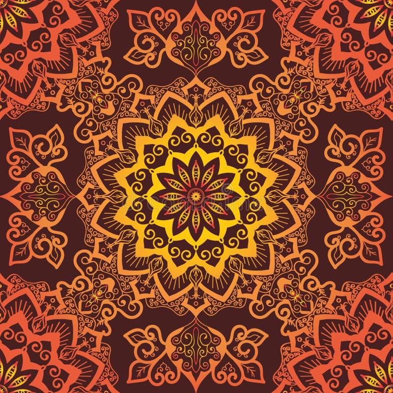 Jaskrawy Pomarańczowy mandala wzoru ornament na czerwonym tle ilustracja wektor