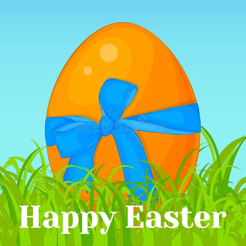 Jaskrawy pomarańczowy Wielkanocny jajko z błękitnym łękiem w trawie Wakacyjny tła, kartka z pozdrowieniami, plakata lub plakata s ilustracja wektor