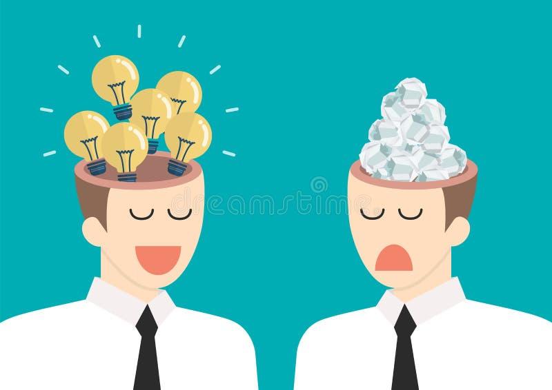 Jaskrawy pomysł i dżonka pomysł w biznesmenach przewodzimy royalty ilustracja