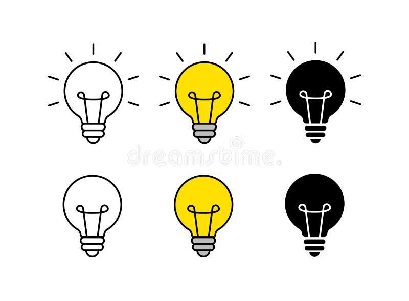 Jaskrawy pomysł ikony set ?ar?wki ikona brainstorming tw?rczo?? pomys? r?wnie? zwr?ci? corel ilustracji wektora royalty ilustracja