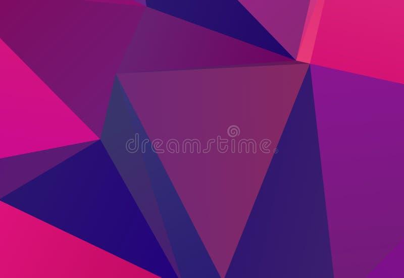 Jaskrawy pozafioletowy geometryczny tło z trójbokami różni kształty i waży Trójkątowanie wzór royalty ilustracja