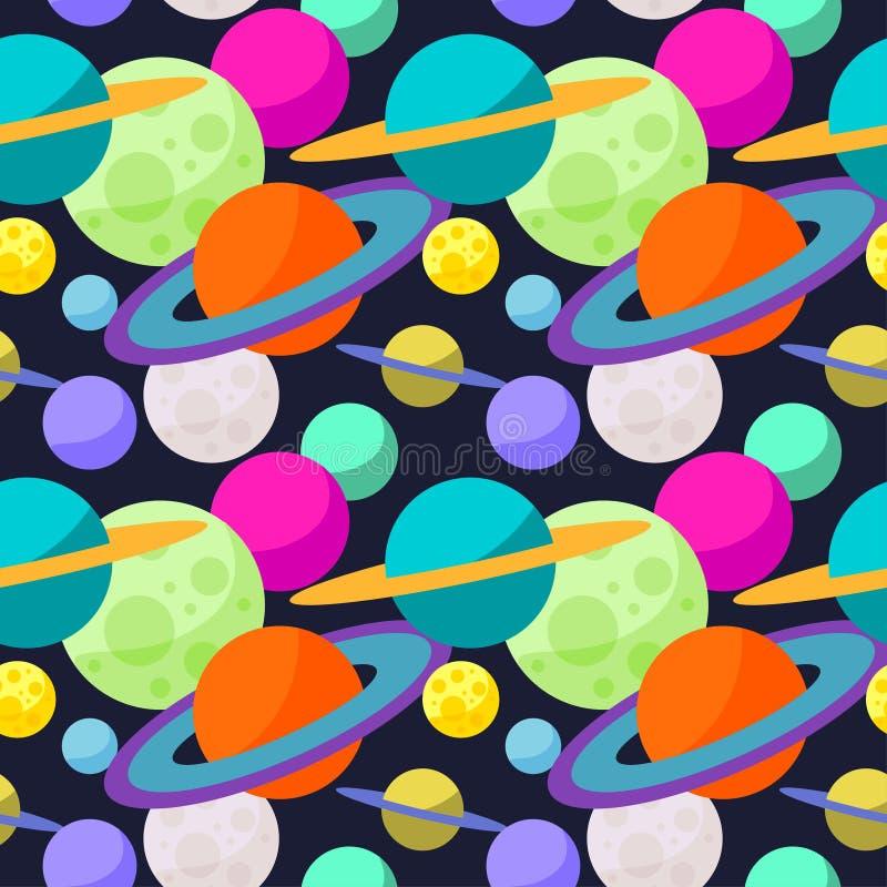 Jaskrawy pozaziemski bezszwowy deseniowy tło z śmieszną kreskówką planetuje w otwartej przestrzeni ilustracja wektor
