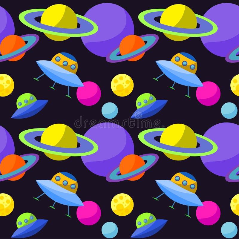 Jaskrawy pozaziemski bezszwowy deseniowy tło z śmiesznym kreskówki ufo i planety w otwartej przestrzeni ilustracji