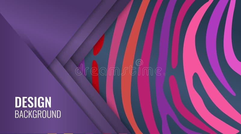 Jaskrawy purpurowy horyzontalny abstrakcjonistyczny sztandar Kolor linie na czarnym tle royalty ilustracja