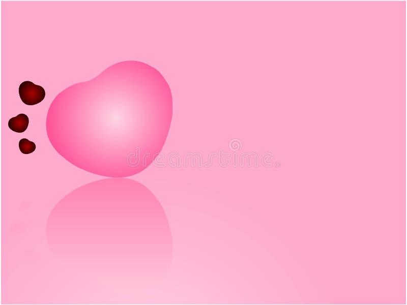 Jaskrawy różowy serce z lustrzanym odbiciem na świetle - różowy tło walentynki ` s dnia tło ilustracji
