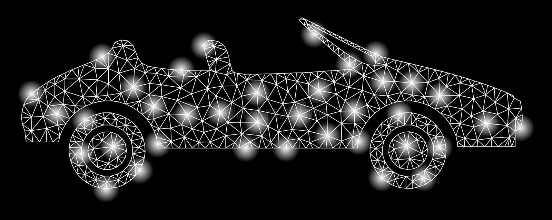 Jaskrawy siatki ścierwa kabriolet z Błyskowymi punktami ilustracja wektor