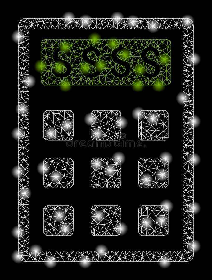 Jaskrawy siatki ścierwa księgowania kalkulator z Błyskowymi punktami royalty ilustracja