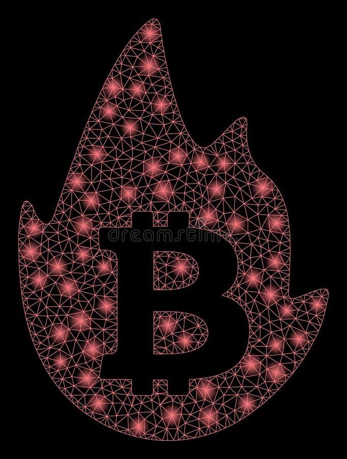 Jaskrawy siatki ścierwo Gorący Bitcoin z Błyskowymi punktami ilustracji