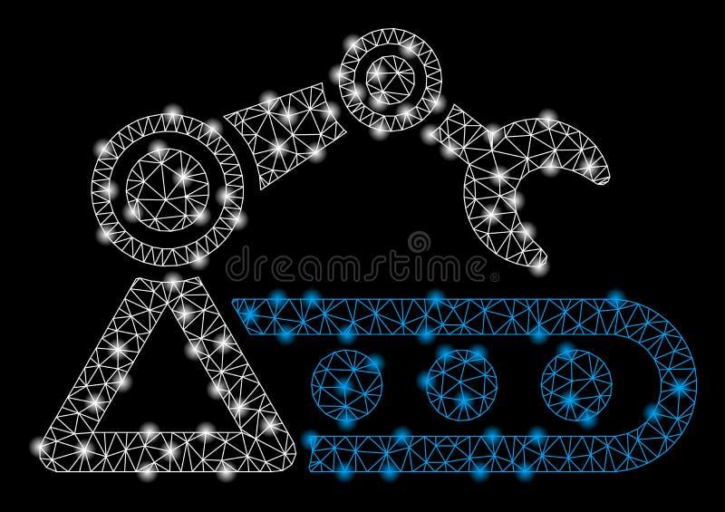 Jaskrawy siatki sieci Automatyczny konwejer z Błyskowymi punktami ilustracja wektor