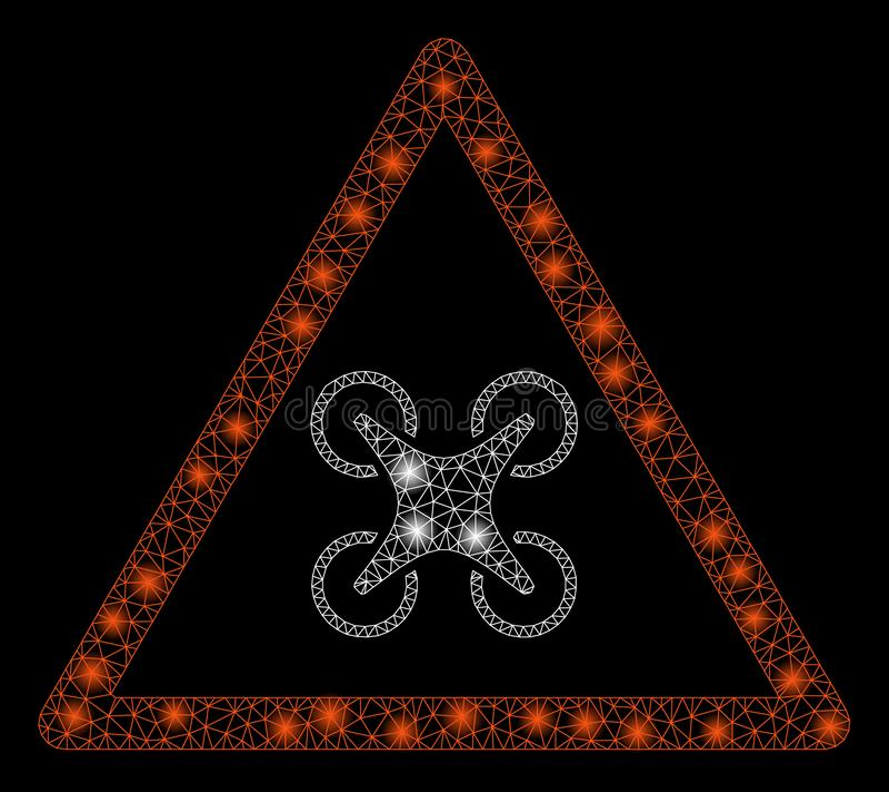 Jaskrawy siatki sieci Copter niebezpieczeństwo z Błyskowymi punktami royalty ilustracja