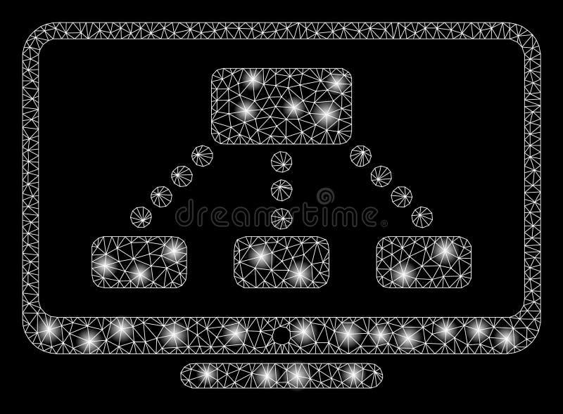 Jaskrawy siatki sieci hierarchii monitor z Błyskowymi punktami ilustracji