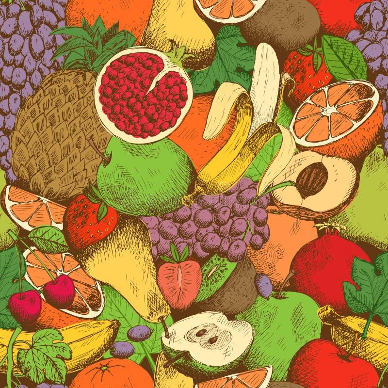 Jaskrawy soczysty świeżych owoc bezszwowy wzór ilustracja wektor