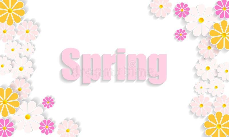 Jaskrawy soczysty wiosny tło z dzikimi kwiatami ilustracji