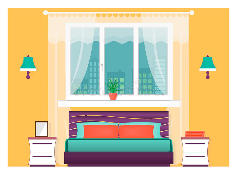 Jaskrawy sypialni wnętrze z meble Domowy projekta pojęcie ilustracji