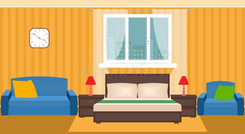 Jaskrawy sypialni wnętrze z meble i okno royalty ilustracja