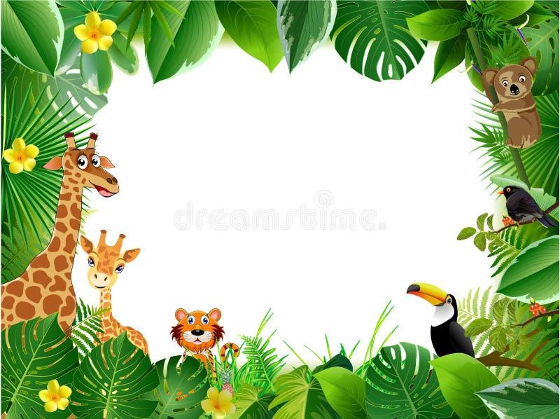 Jaskrawy tropikalny tło z kreskówką; dżungla; zwierzęta; royalty ilustracja