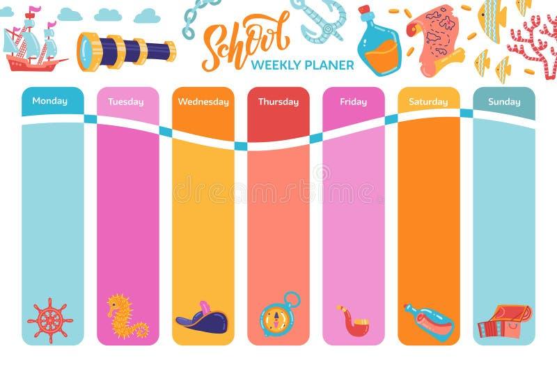 Jaskrawy tygodniowego kalendarza planista, szkolny rozkład zajęć z przygoda symbolami Skarb klatki piersiowej kotwicy latarni mor royalty ilustracja