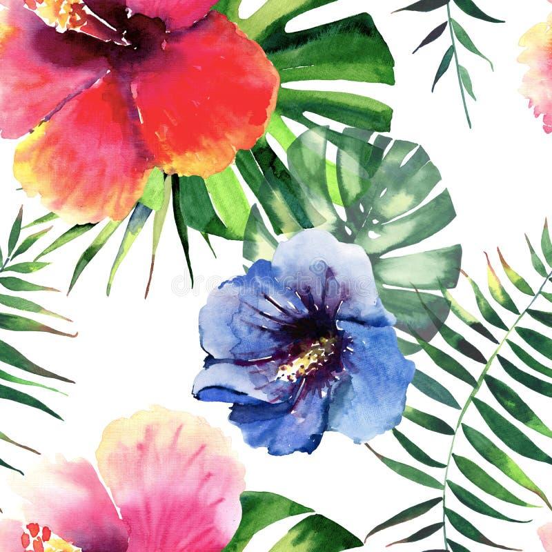 Jaskrawy uroczy tropikalny Hawaii lata kwiecisty ziołowy wzór czerwień, menchie, błękit, żółty tropikalny kwiatu poślubnik l i zi royalty ilustracja