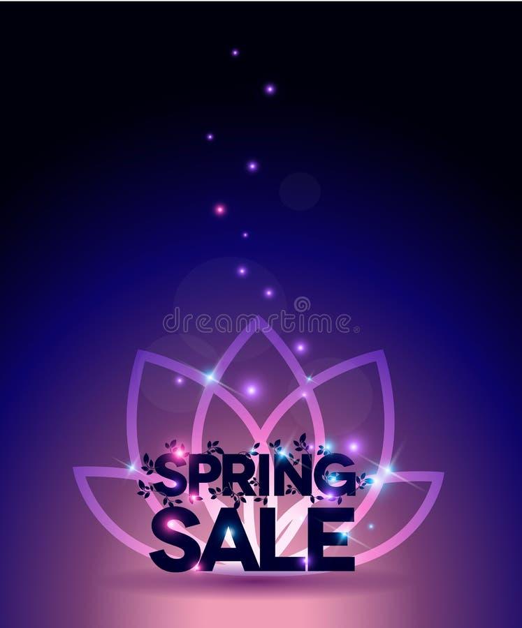 Jaskrawy wiosny sprzedaży plakat, piękni kolory z l royalty ilustracja