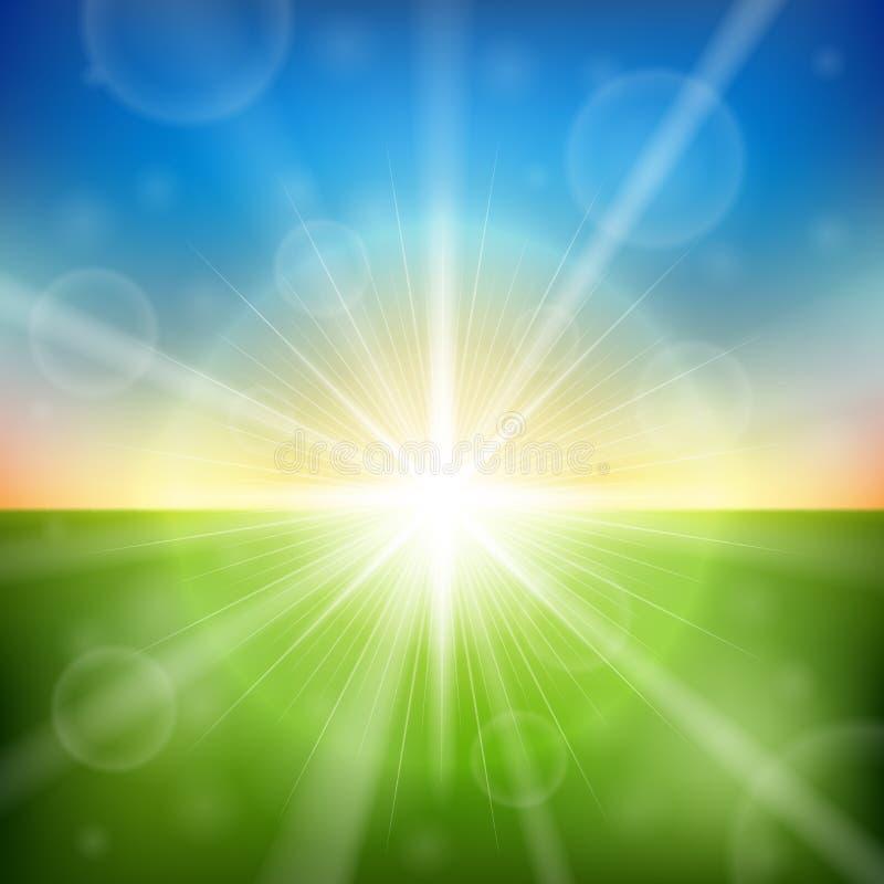 Jaskrawy wschodu słońca obiektywu racy tło ilustracja wektor