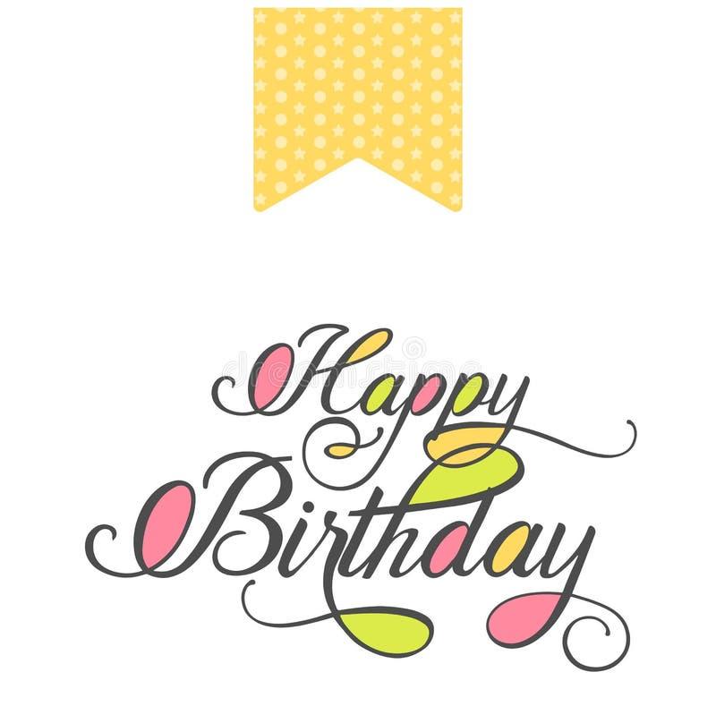 Jaskrawy wszystkiego najlepszego z okazji urodzin kartka z pozdrowieniami z ręka rysującym eleganckim literowaniem w minimalisty  ilustracja wektor
