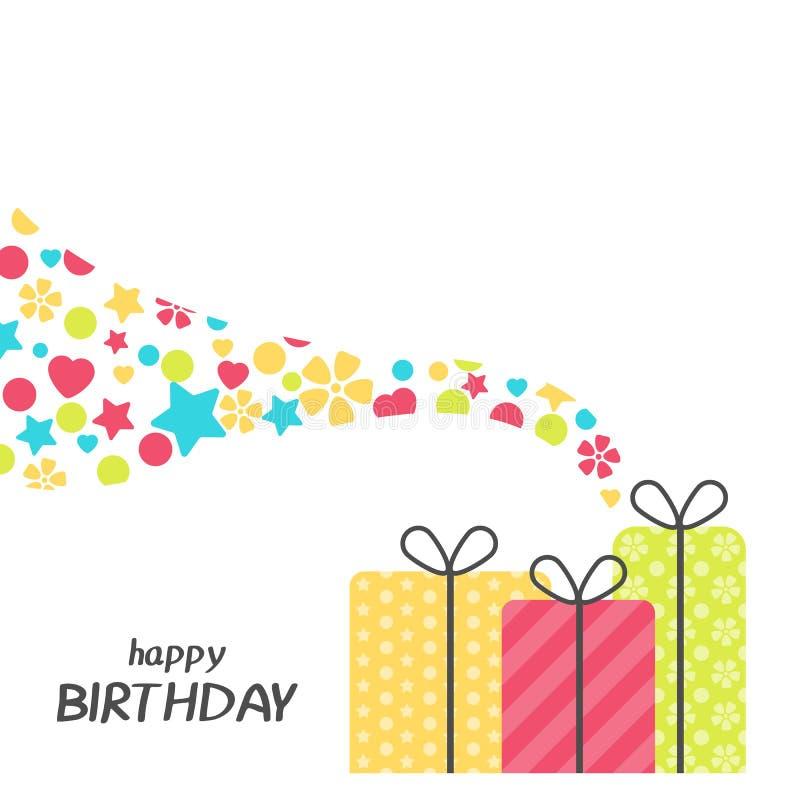 Jaskrawy wszystkiego najlepszego z okazji urodzin kartka z pozdrowieniami z teraźniejszości pudełkiem w minimalisty stylu Nowożyt ilustracja wektor