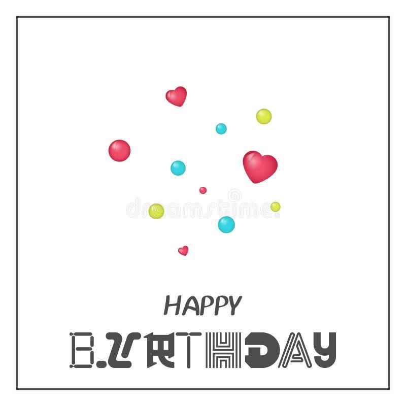 Jaskrawy wszystkiego najlepszego z okazji urodzin kartka z pozdrowieniami w minimalisty stylu Nowożytna urodzinowa odznaka lub et ilustracji