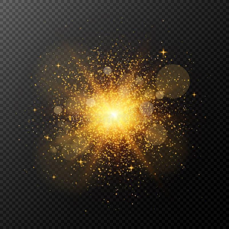 Jaskrawy złoty błysk z magicznym pyłem odizolowywa na przejrzystym tle Boże Narodzenie ogień Błysk, główna atrakcja dla twój proj royalty ilustracja