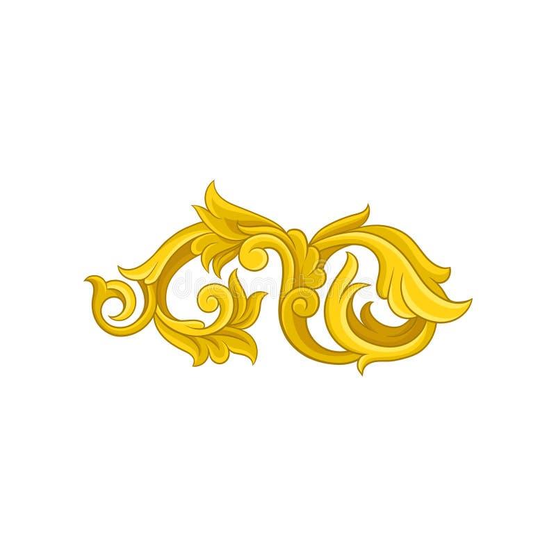 Jaskrawy złoty barokowy ornament Luksusowy kwiecisty wzór w wiktoriański stylu Dekoracyjny wektorowy element royalty ilustracja