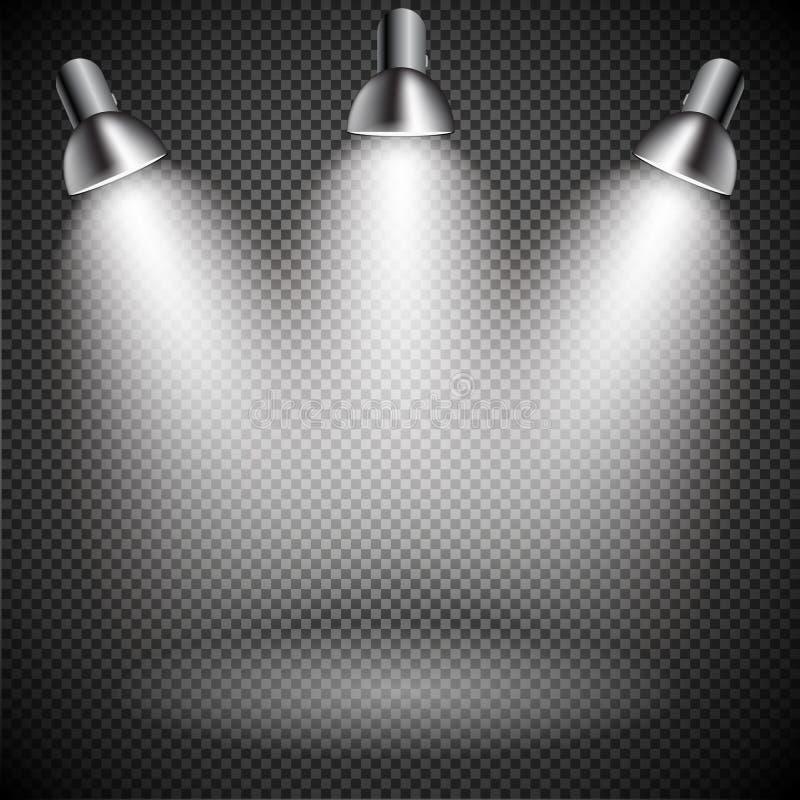 Jaskrawy z Oświetleniowymi światłami reflektorów Lampowymi ilustracji