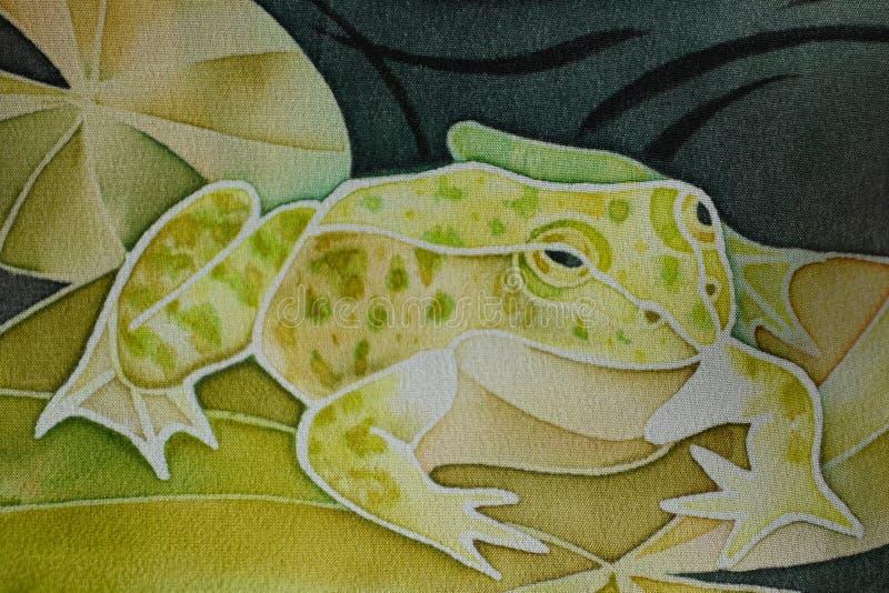 Jaskrawy - zielona żaba na wodnej lelui liściu royalty ilustracja