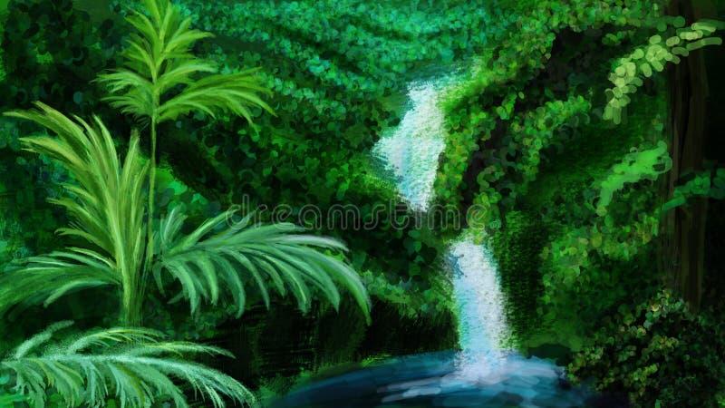 Jaskrawy - zielona dżungla i siklawa ilustracji