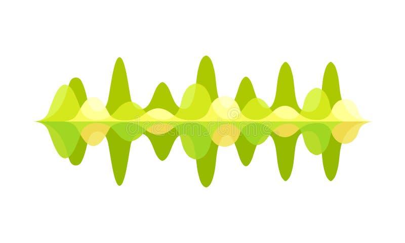 Jaskrawy - zielona muzyki fala Rozsądne częstotliwość Wizualna grafika dla cyfrowego wyrównywacza Audio technologia 10 tło projek ilustracja wektor