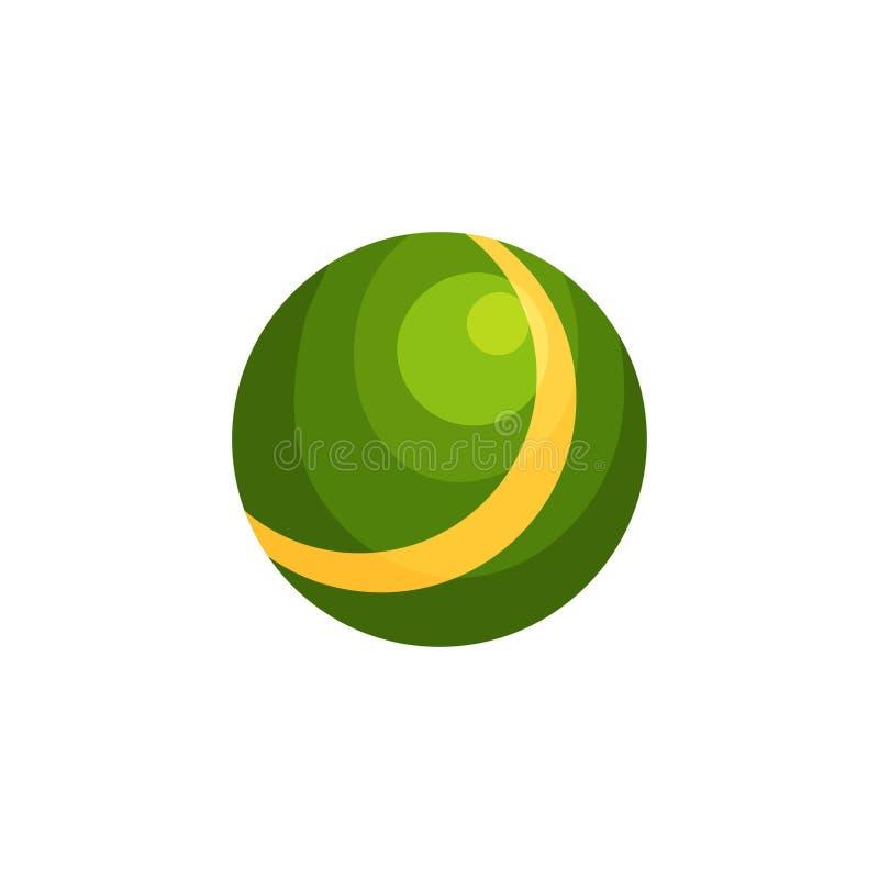 Jaskrawy - zielona piłka z żółtym lampasem Nadmuchiwana gumy zabawka dla dziecka ` s plenerowych gier Kolorowy plażowy akcesorium royalty ilustracja