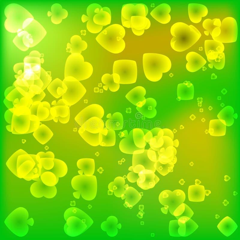 Jaskrawy zielona tekstura karciani kostiumy w magicznym światło stylu ilustracja wektor
