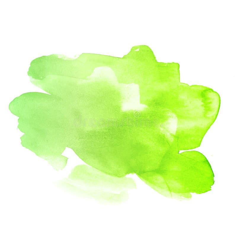 Jaskrawy - zielonożółtej wiosny akwareli grunge wektorowa plama odizolowywająca na białym tle royalty ilustracja