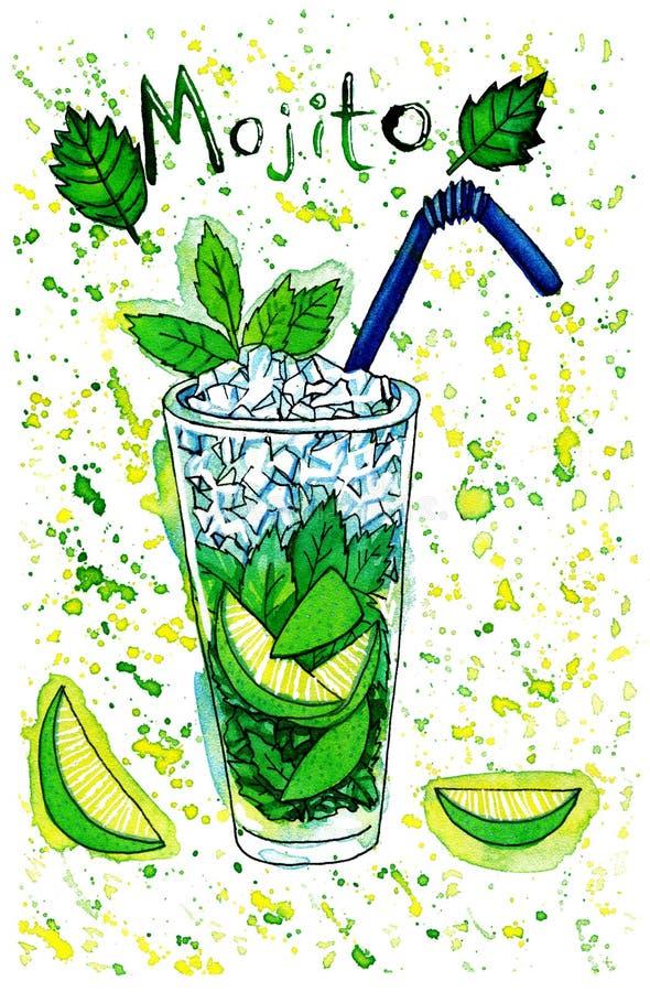 Jaskrawy - zielony akwarela obraz odświeżenie ilustracji