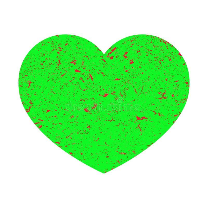 Jaskrawy - zielony serce w retro stylu Serce z grunge tekstur? przedmiotem t?a ?cie?ki wycinek odizolowane white ilustracja ilustracji