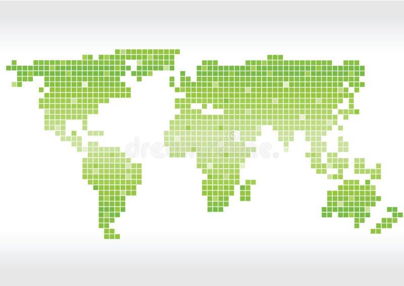 Jaskrawy - zielony wektor obciosuje światowej mapy sylwetkę royalty ilustracja