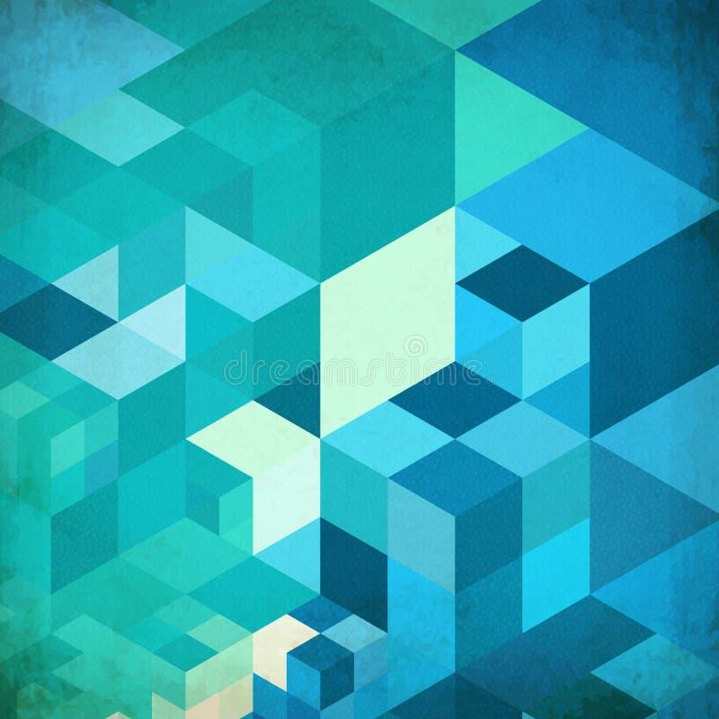 Jaskrawych abstrakcjonistycznych sześcianów błękitny wektorowy tło ilustracji