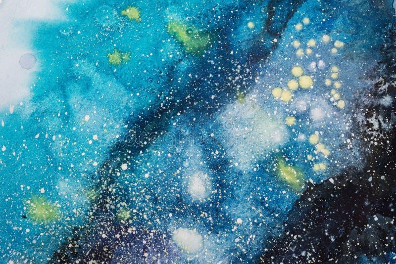 Jaskrawych akwareli błękita menchii purpurowa czerwona plama kapie krople ilustracja abstrakcyjna obrazy stock