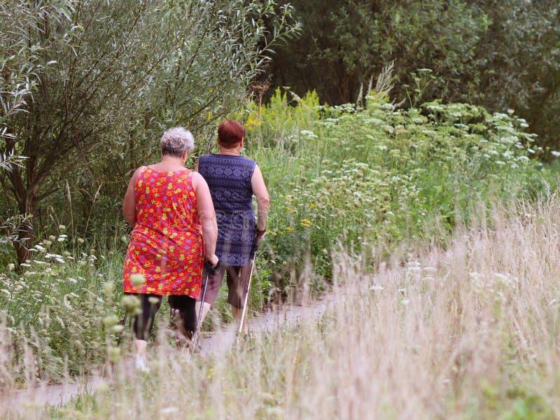 Jaslo, Polonia - 9 de julio de 2018: Escandinavo/el caminar nórdico Una mujer en ropa de la ciudad da un paseo a través de la hie imágenes de archivo libres de regalías