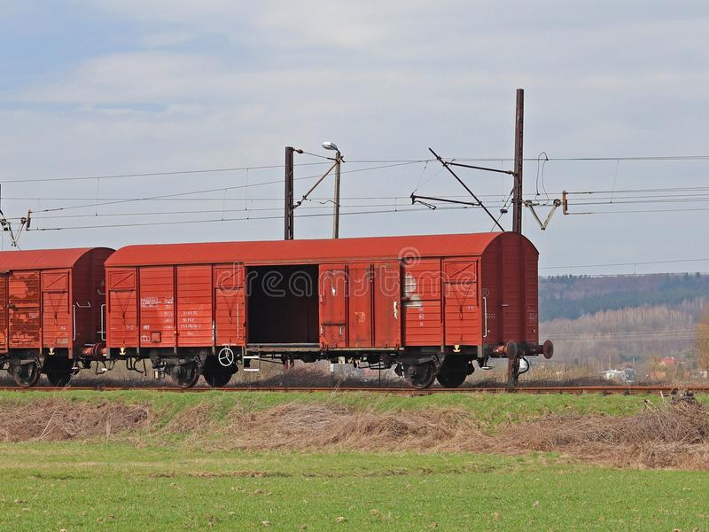 Jaslo/Yaslo, Poland - april 8, 2018: Railway station. Cargo transportation. Security at the strategic site. Railroad drive. Wood stock photos