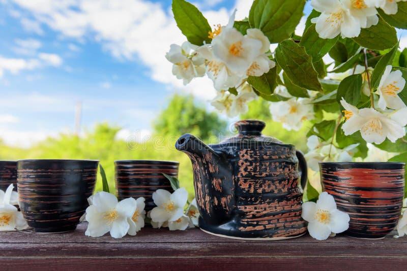 Jasmijnthee in kleine ceramische koppen royalty-vrije stock fotografie