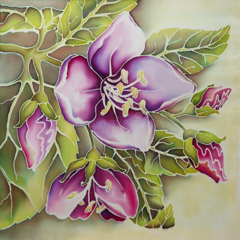 Jasmim cor-de-rosa (batik) ilustração do vetor
