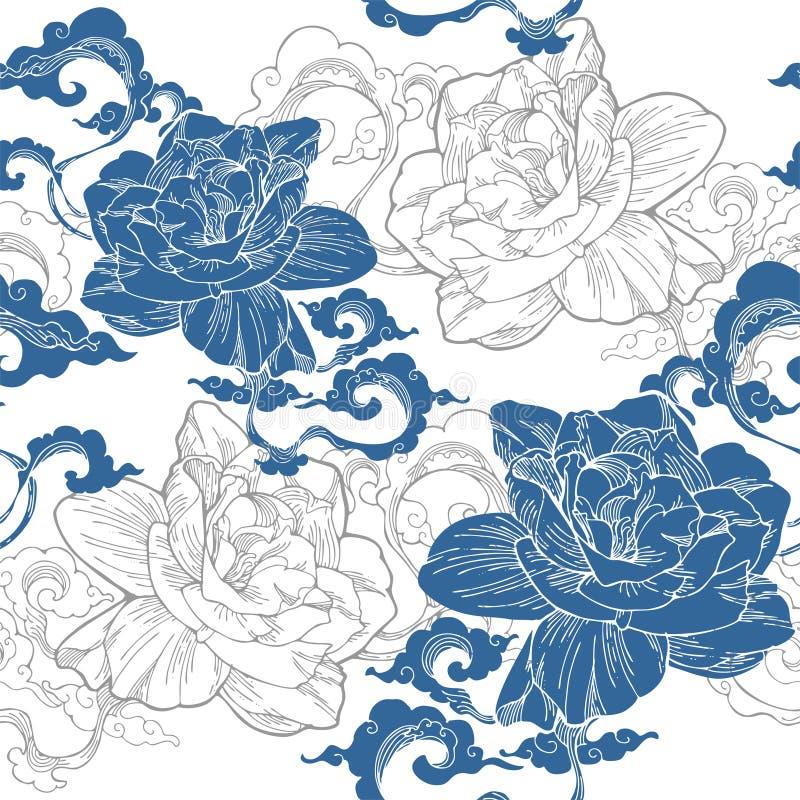 Jasmim de cabo oriental e e nuvem do aroma para o teste padrão sem emenda com tom azul e branco ilustração stock