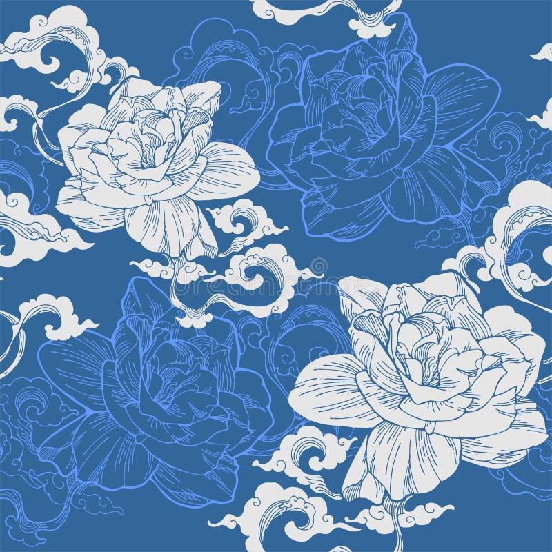 Jasmim de cabo oriental e e nuvem do aroma para o teste padrão sem emenda com tom azul e branco ilustração royalty free